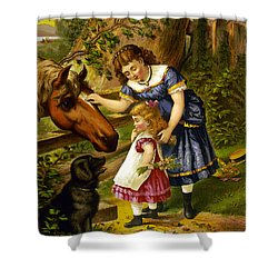 Two Young Girls Shower Curtain by Unknown