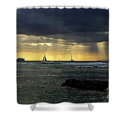Typical Hawaiian Evening Shower Curtain by Cheryl Young