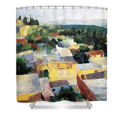 Tzfat Shower Curtain by David Baruch Wolk
