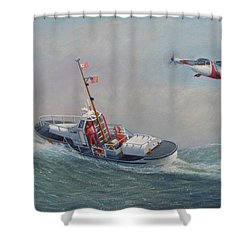U. S. Coast Guard 44ft Motor Lifeboat And Tilt-motor Aircraft  Shower Curtain by William H RaVell III