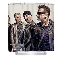 U2 Goup Shower Curtain by Riccardo Zullian