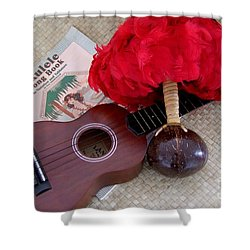 Ukulele Ipu And Songbook Shower Curtain by Mary Deal