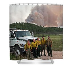 Shower Curtain featuring the photograph Umpqua Engine 25 On Myrtle Fire by Bill Gabbert