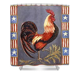Uncle Sam The Rooster Shower Curtain by Linda Mears