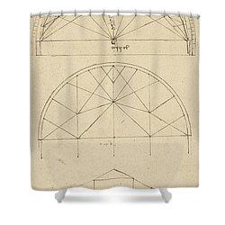 Underdrawing For Building Temporary Arch Shower Curtain by Leonardo Da Vinci
