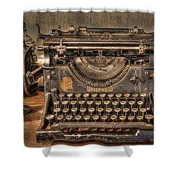 Underwood Typewriter Number 5 Shower Curtain by Debra and Dave Vanderlaan