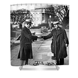 Unemployed Man Sells Apples Shower Curtain by Underwood Archives