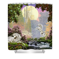 Unicorn New Born Shower Curtain by Garry Walton