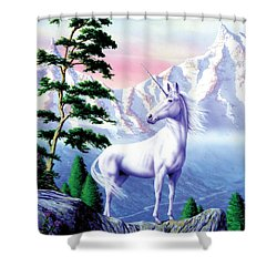 Unicorn The Land That Time Forgot Shower Curtain by Garry Walton