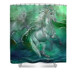 Unicorns Of The Sea Shower Curtain by Carol Cavalaris