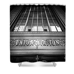 Union Station Chicago In Black And White Shower Curtain by Paul Velgos