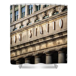 Union Station Chicago Sign And Building Shower Curtain by Paul Velgos