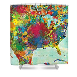 United States Map Shower Curtain by Gary Grayson