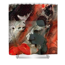 Universal Qi - Zen Black And Red Art Shower Curtain by Sharon Cummings