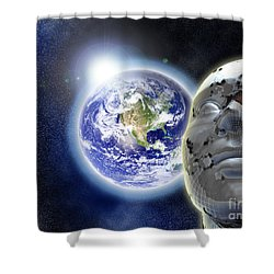 Alone In The Universe Shower Curtain by Stefano Senise