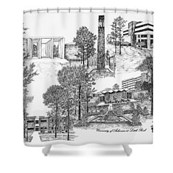 University Of Arkansas Shower Curtain by Liz  Bryant