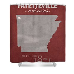 University Of Arkansas Razorbacks Fayetteville College Town State Map Poster Series No 013 Shower Curtain by Design Turnpike