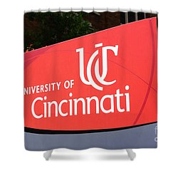 University Of Cincinnati Sign Shower Curtain by Paul Velgos