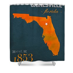 University Of Florida Gators Gainesville College Town Florida State Map Poster Series No 003 Shower Curtain by Design Turnpike