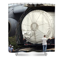 Shower Curtain featuring the photograph Unloading A Titan Ivb Rocket by Science Source