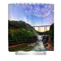 Upper Falls At Letchworth Shower Curtain by Mark Papke