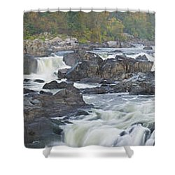 Upper Great Falls Panorama Shower Curtain by Benjamin Reed