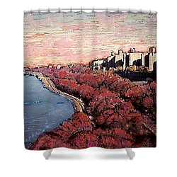 Upper Manhattan Along The Hudson River Shower Curtain by Sarah Loft