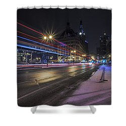 Urban Holiday  Shower Curtain by CJ Schmit