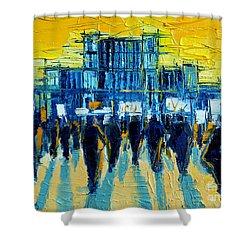 Urban Story - The Romanian Revolution Shower Curtain by Mona Edulesco