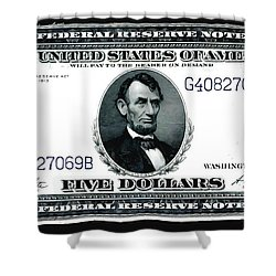 U.s. 1914 Five Dollar Federal Reserve Note Fr 871a Shower Curtain by Lanjee Chee