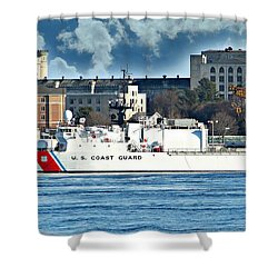 Us Coast Guard Shower Curtain by Barbara S Nickerson