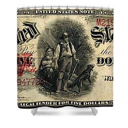 Us Five Dollar United States Note Series 1907 Shower Curtain by Lanjee Chee