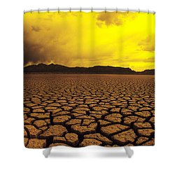 Usa, California, Cracked Mud In Dry Shower Curtain by Larry Dale Gordon