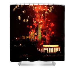 Usa, Washington Dc, Fireworks Shower Curtain by Panoramic Images