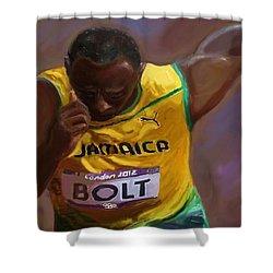 Usain Bolt 2012 Olympics Shower Curtain by Vannetta Ferguson