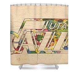 Utah Jazz Retro Poster Shower Curtain by Florian Rodarte