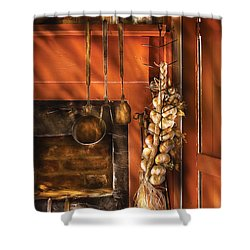 Utensils - Garlic And Spoons Shower Curtain by Mike Savad