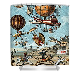 Utopian Flying Machines 19th Century Shower Curtain by Science Source
