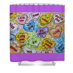 Valentine Candy Hearts Shower Curtain by Kathy Marrs Chandler