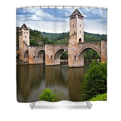 Valentre Bridge In Cahors France Shower Curtain by Elena Elisseeva