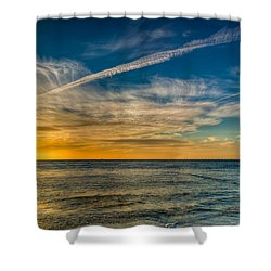Vapor Trail Shower Curtain by Adrian Evans