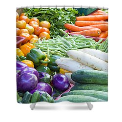 Vegetables Stand In Wet Market Shower Curtain by JPLDesigns