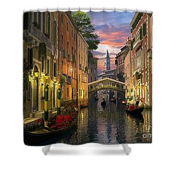 Venice At Dusk Shower Curtain by Dominic Davison