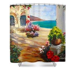 Venice Villa Shower Curtain by Jenny Lee