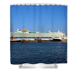 Ventura Sheildhall Calshot Spit And A Tug Shower Curtain by Terri Waters