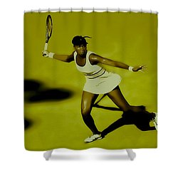 Venus Williams In Action Shower Curtain by Brian Reaves