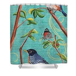 Verdigris Songbirds 1 Shower Curtain by Debbie DeWitt