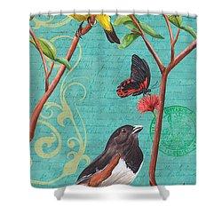 Verdigris Songbirds 2 Shower Curtain by Debbie DeWitt
