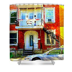 Verdun City Street Triplex Apartment Outdoor Winding Stairs Montreal Scenes Primary Colors C Spandau Shower Curtain by Carole Spandau