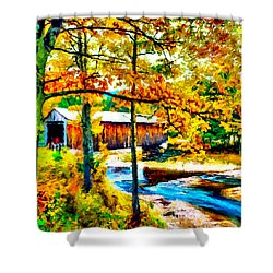 Vermont Covered Bridge Shower Curtain by Bob and Nadine Johnston